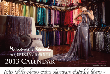 2013 Calendar for Marianne's Rentals for Special Events!